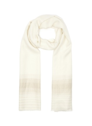Main View - Click To Enlarge - JANAVI - Shimmer stripe merino wool scarf