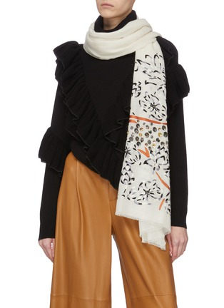 Figure View - Click To Enlarge - JANAVI - Sequin embellished cheetah print scarf