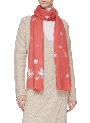Figure View - Click To Enlarge - JANAVI - Butterfly print cashmere scarf