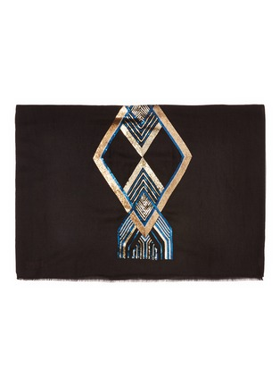 Detail View - Click To Enlarge - JANAVI - Geometric sequin embellished cashmere scarf
