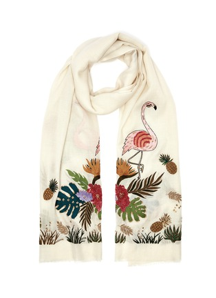 Main View - Click To Enlarge - JANAVI - Tropical embroidered cashmere scarf