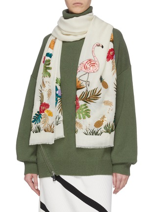 Figure View - Click To Enlarge - JANAVI - Tropical embroidered cashmere scarf