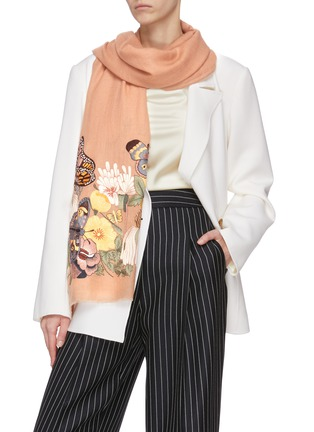 Figure View - Click To Enlarge - JANAVI - Floral embroidered cashmere scarf
