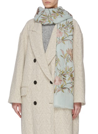 Figure View - Click To Enlarge - JANAVI - 'Jaal' floral embroidered cashmere scarf