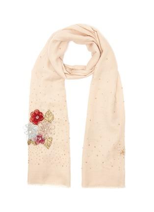 Main View - Click To Enlarge - JANAVI - Stud embellished floral cashmere scarf