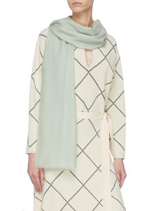 Figure View - Click To Enlarge - JANAVI - 'Dobby' stripe woven merino wool scarf
