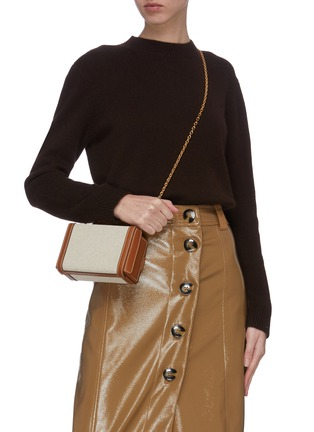 Front View - Click To Enlarge - MARK CROSS - 'Grace' leather canvas box belt bag