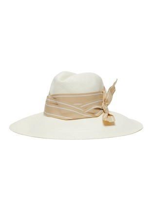 Main View - Click To Enlarge - SENSI STUDIO - Double twist stripe band toquilla straw Panama hat