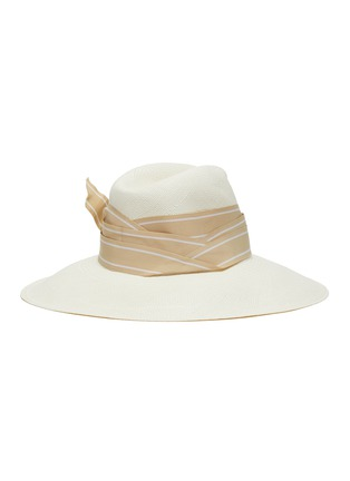 Figure View - Click To Enlarge - SENSI STUDIO - Double twist stripe band toquilla straw Panama hat