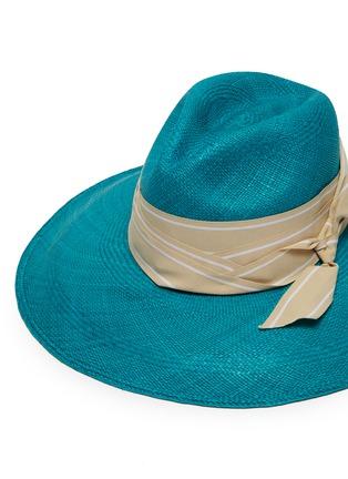 Detail View - Click To Enlarge - SENSI STUDIO - Long brim double twist stripe band toquilla straw Panama hat