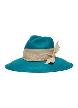 Main View - Click To Enlarge - SENSI STUDIO - Long brim double twist stripe band toquilla straw Panama hat
