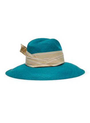 Figure View - Click To Enlarge - SENSI STUDIO - Long brim double twist stripe band toquilla straw Panama hat