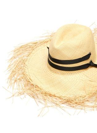 Detail View - Click To Enlarge - SENSI STUDIO - Frayed long brim band trimmed toquilla straw Panama hat