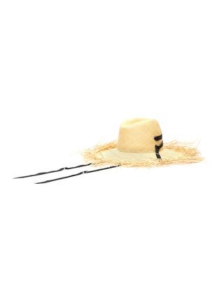 Figure View - Click To Enlarge - SENSI STUDIO - Frayed long brim band trimmed toquilla straw Panama hat