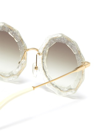 Detail View - Click To Enlarge - CHLOÉ - Oversized angular frame metal sunglasses
