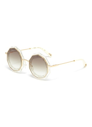 Main View - Click To Enlarge - CHLOÉ - Oversized angular frame metal sunglasses