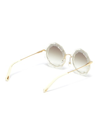 Figure View - Click To Enlarge - CHLOÉ - Oversized angular frame metal sunglasses
