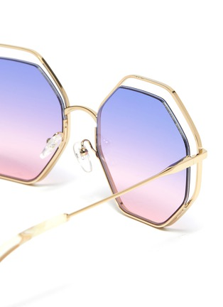 Detail View - Click To Enlarge - CHLOÉ - 'Poppy' octagon cutout metal frame sunglasses