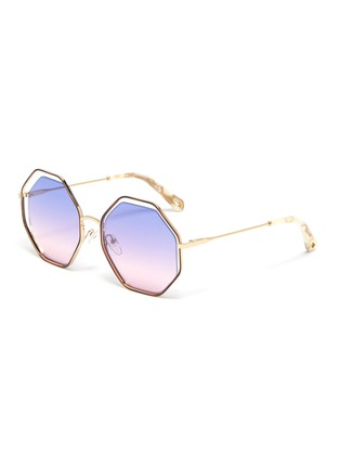 Main View - Click To Enlarge - CHLOÉ - 'Poppy' octagon cutout metal frame sunglasses