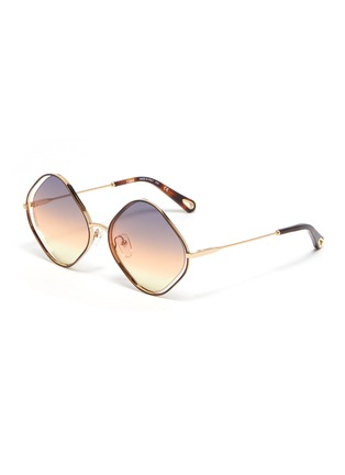 Main View - Click To Enlarge - CHLOÉ - 'Poppy' oversized rhombus metal frame sunglasses