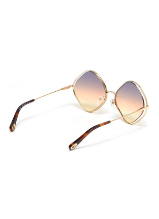 Figure View - Click To Enlarge - CHLOÉ - 'Poppy' oversized rhombus metal frame sunglasses