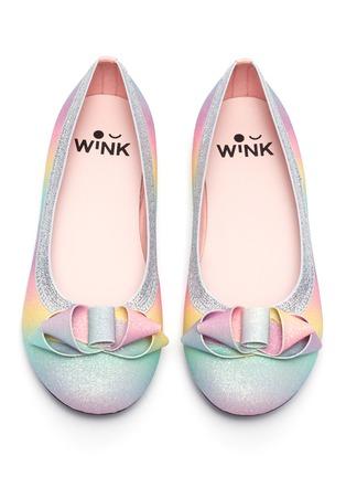 Figure View - Click To Enlarge - WINK - 'Soda Pop' ribbon glittered kids ballerina flats