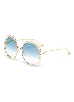 Main View - Click To Enlarge - CHLOÉ - 'Carlina' twisted round metal frame sunglasses