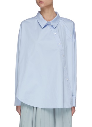 Main View - Click To Enlarge - SHORT SENTENCE - Slanted double button shirt