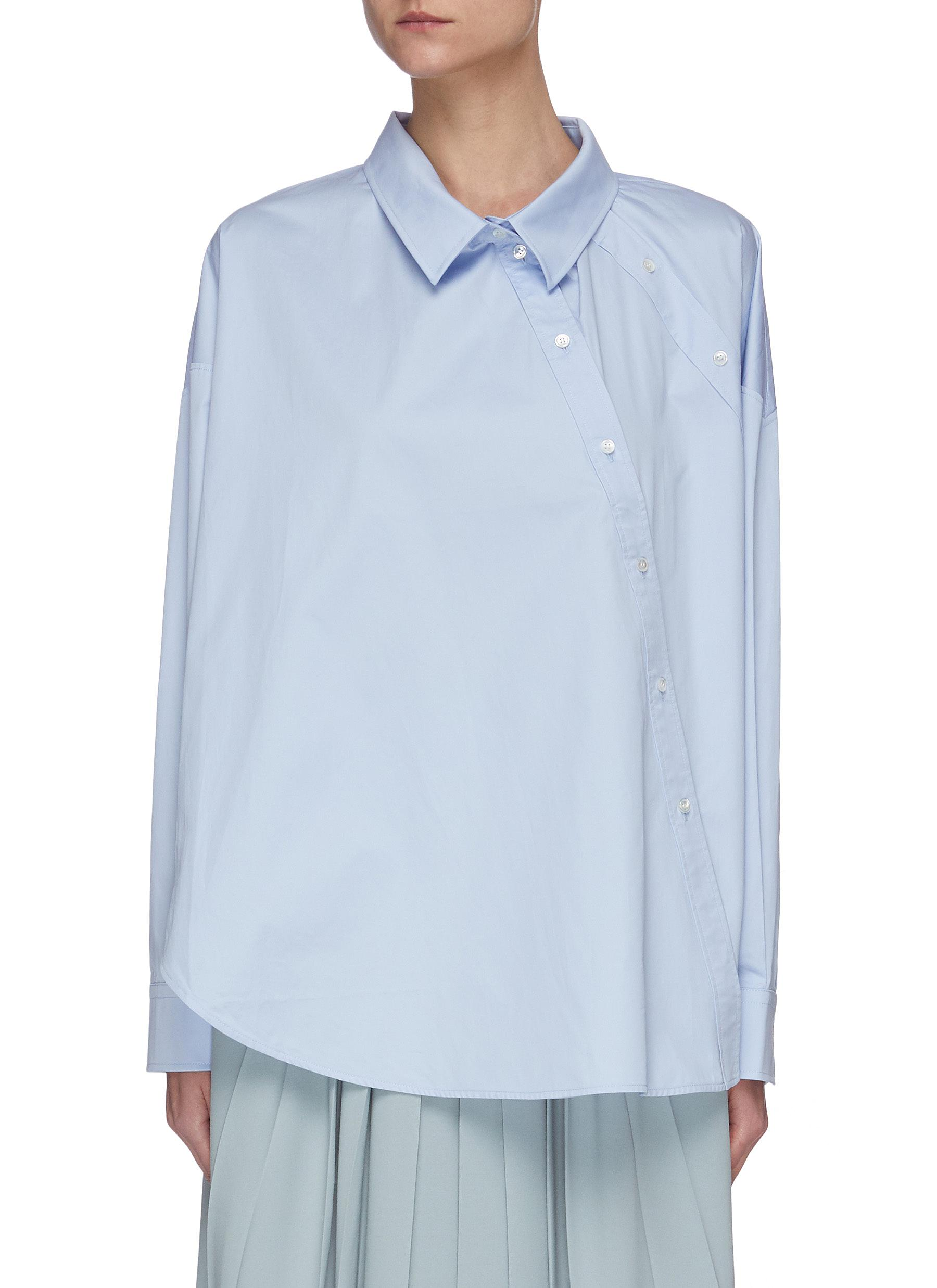 Buy Short Sentence Tops Slanted double button shirt