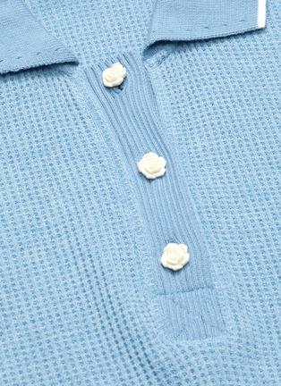 - SHORT SENTENCE - Puff sleeves waffle knit polo shirt