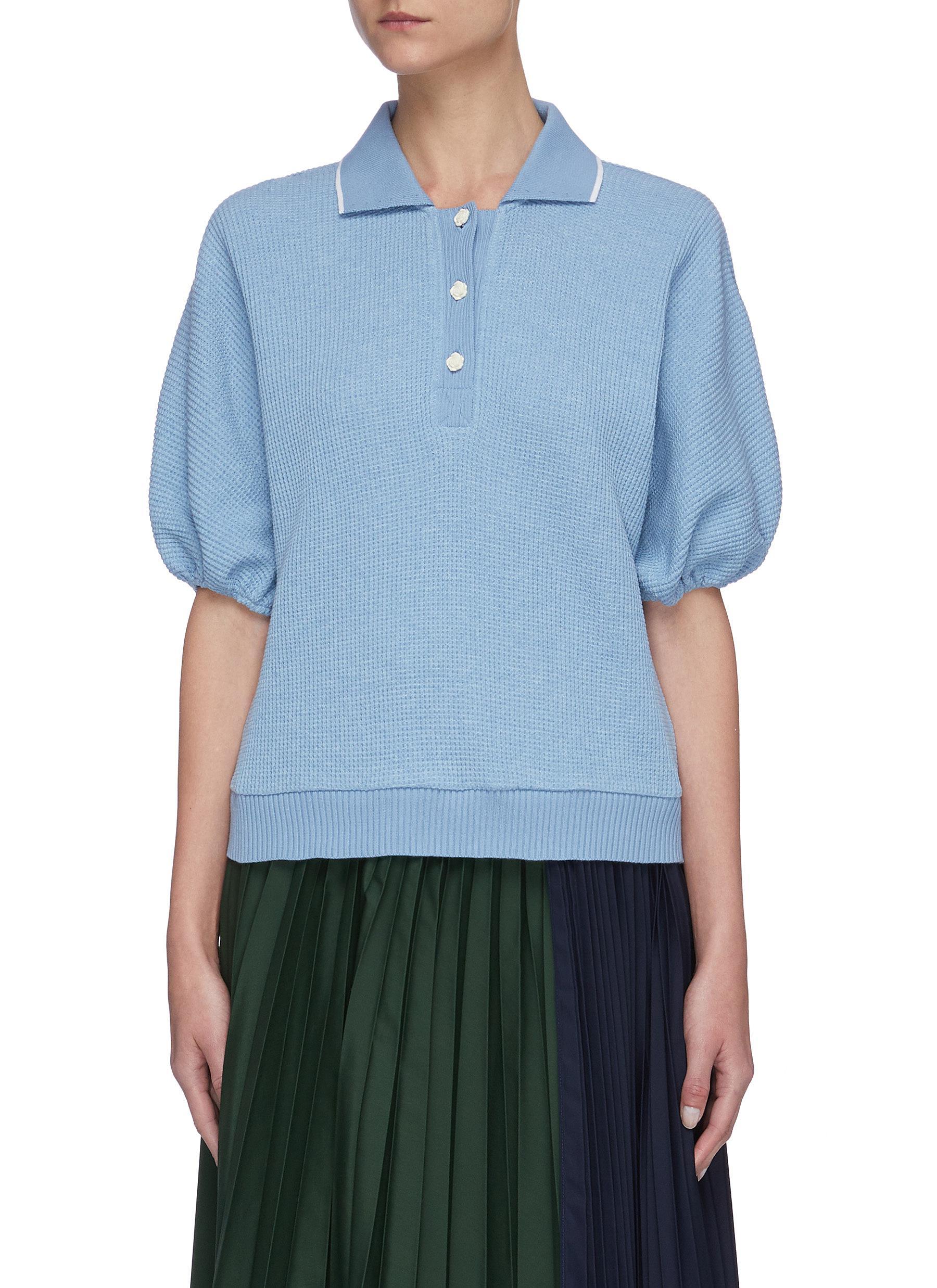 Buy Short Sentence Tops Puff sleeves waffle knit polo shirt