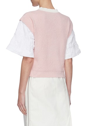 Back View - Click To Enlarge - SHORT SENTENCE - Oversized wrinkled sleeves knit top