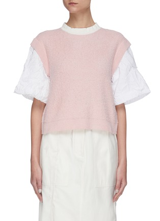 Main View - Click To Enlarge - SHORT SENTENCE - Oversized wrinkled sleeves knit top