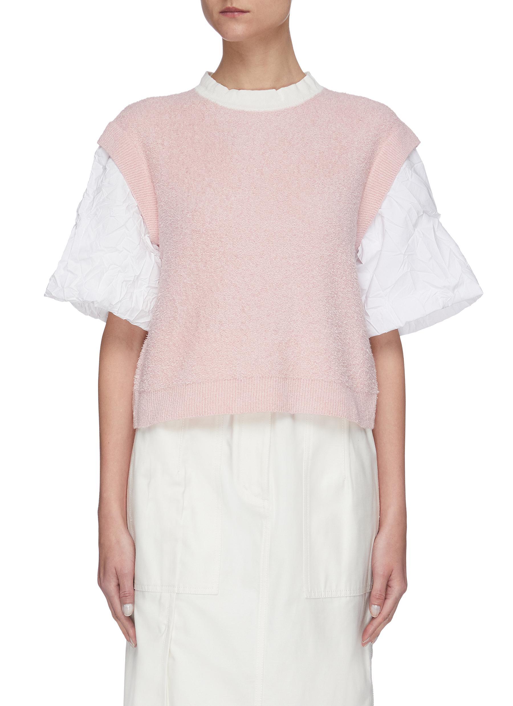 shop Short Sentence Oversized wrinkled sleeves knit top online