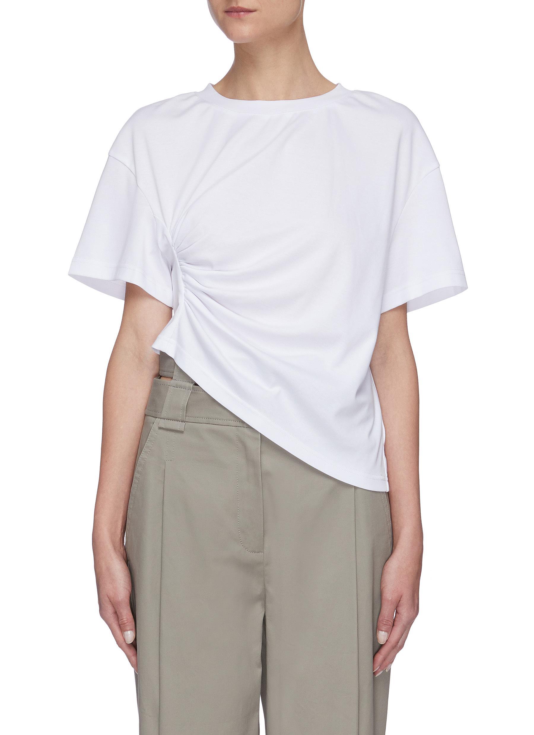 Buy Short Sentence Tops Side ruched T-shirt