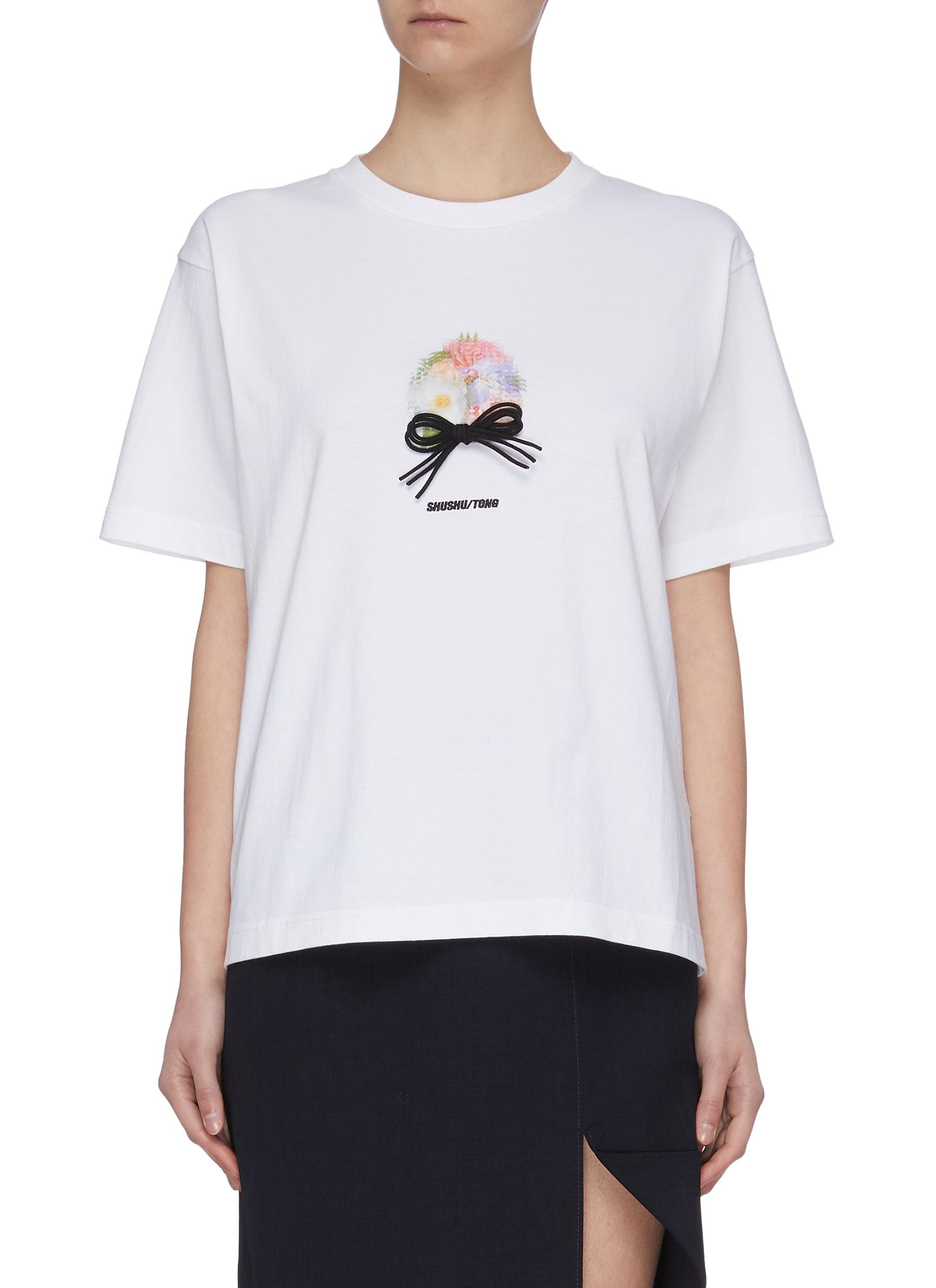 shop Shushu/Tong Floral Print Bow Detail T-shirt online