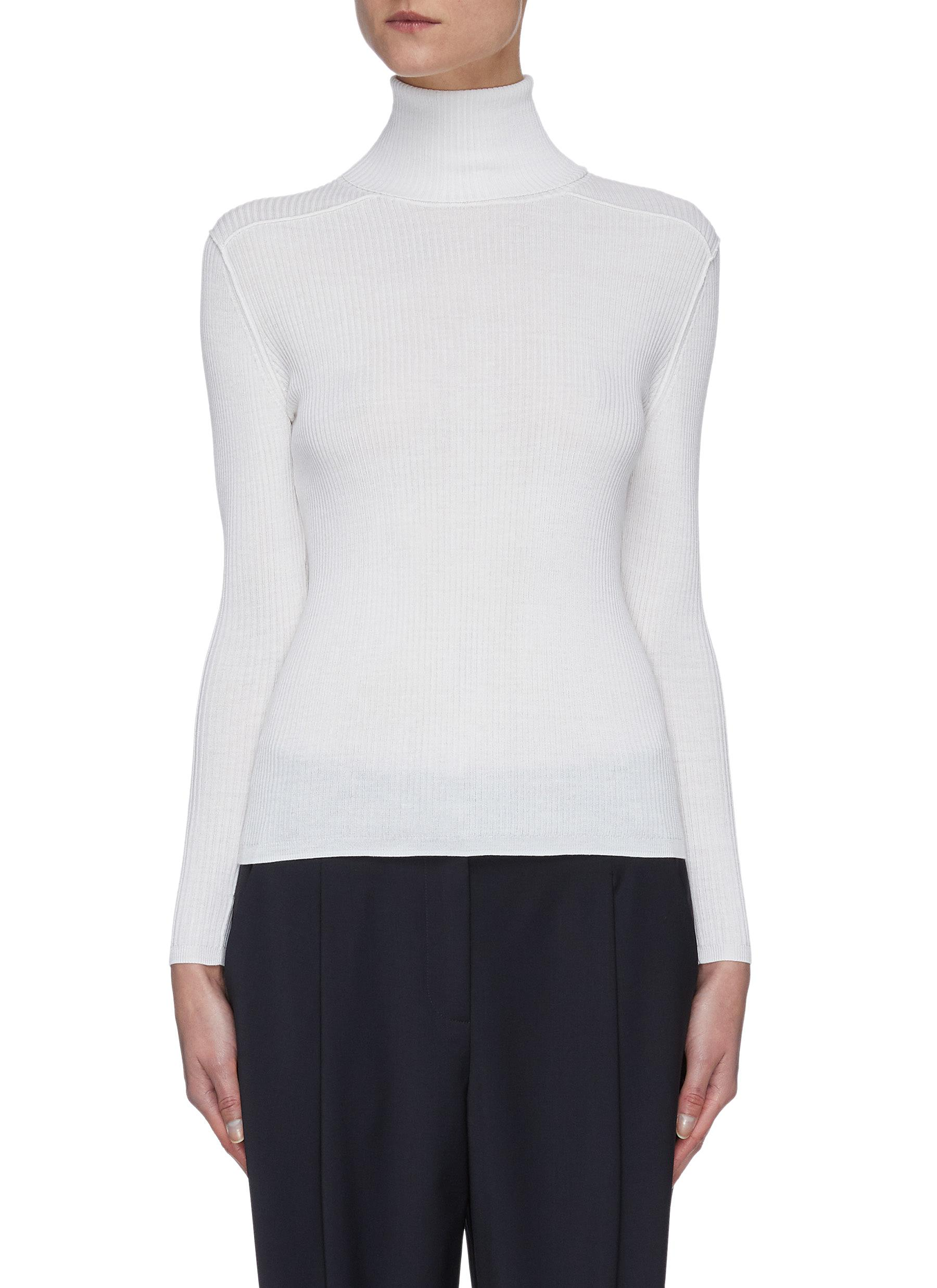 shop Crush Collection Turtleneck rib knit silk blend top online