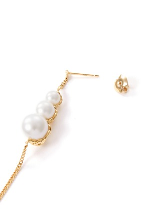 Detail View - Click To Enlarge - TASAKI - 'Stretched' freshwater pearl 18k yellow gold earrings