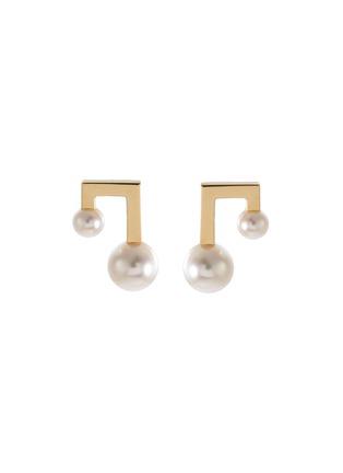 Main View - Click To Enlarge - TASAKI - 'Balance' akoya pearl 18k yellow gold earrings