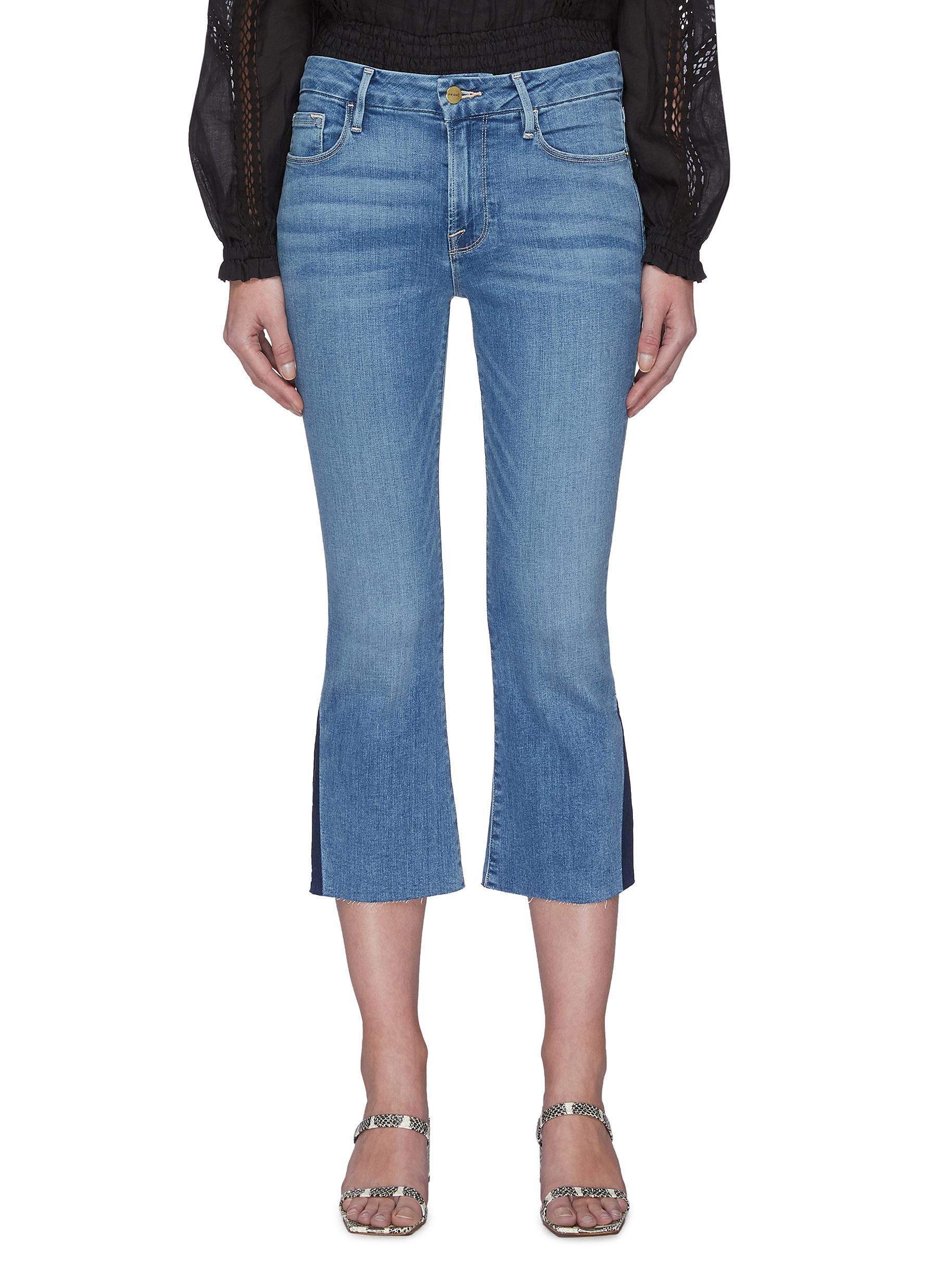 shop Frame Denim Raw Edge Pixie Crop Jeans online