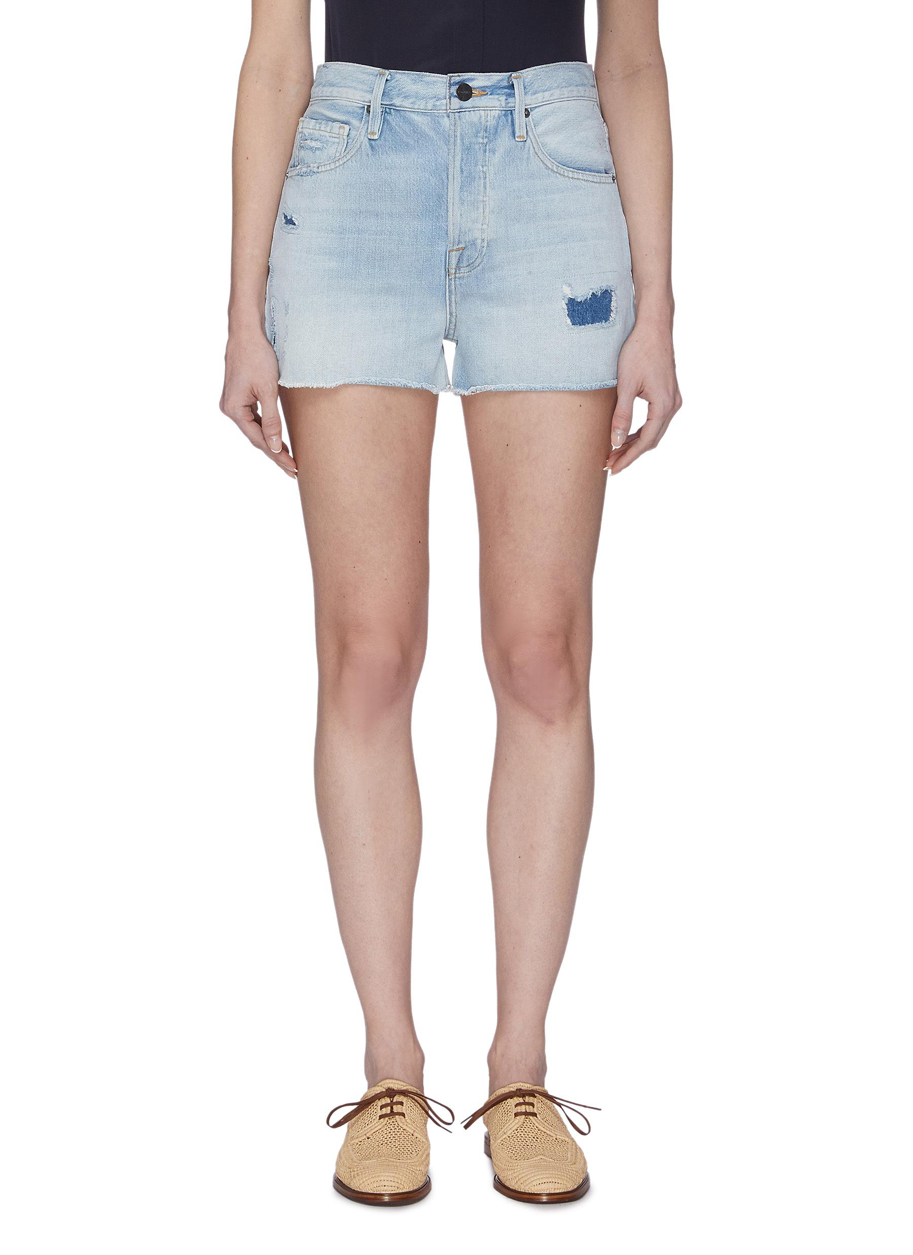 Buy Frame Denim Jeans Light Wash Patch Work Denim Shorts