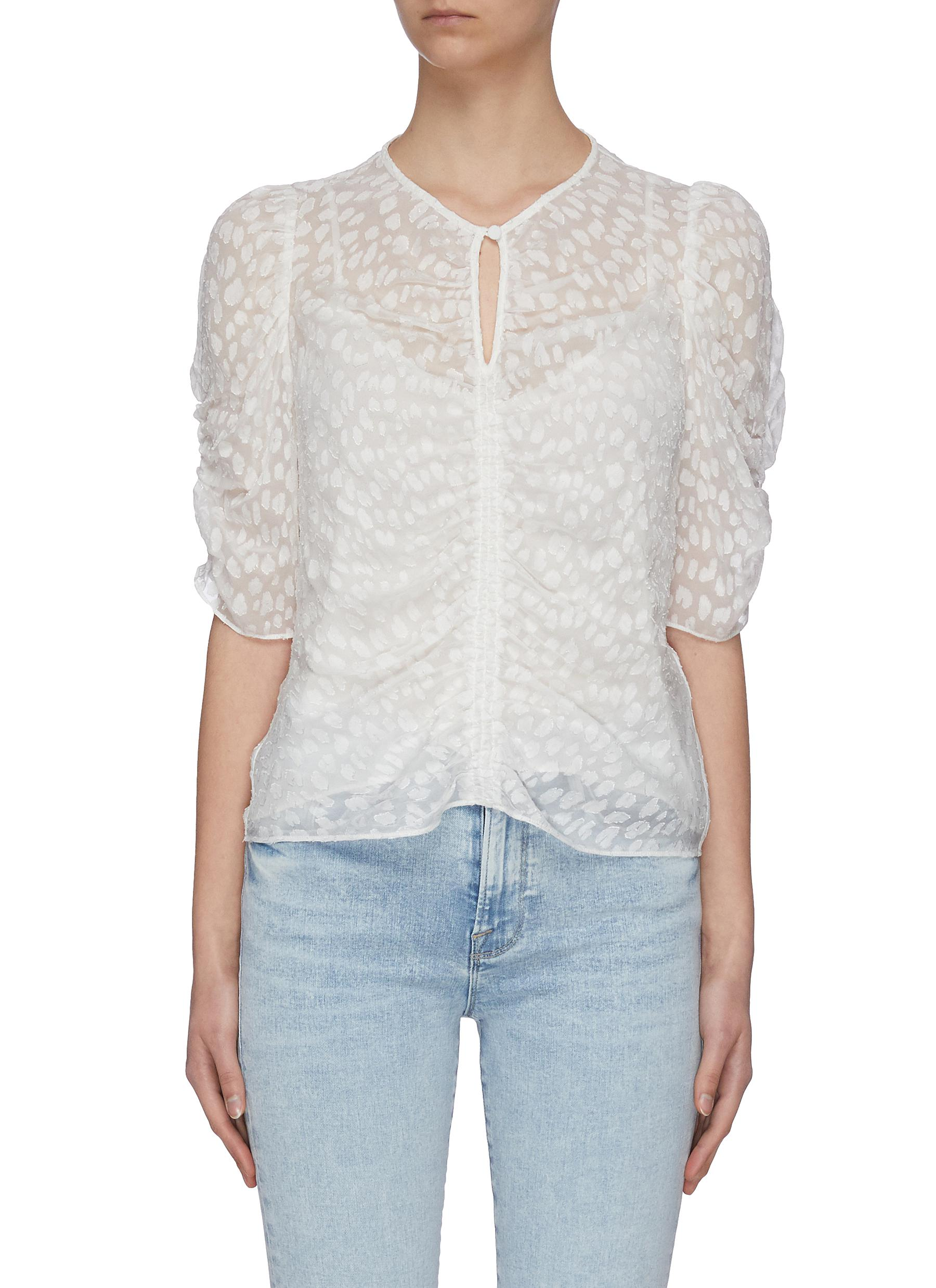 Frame Women's Shirred Keyhole Puff-shoulder Top In Off White