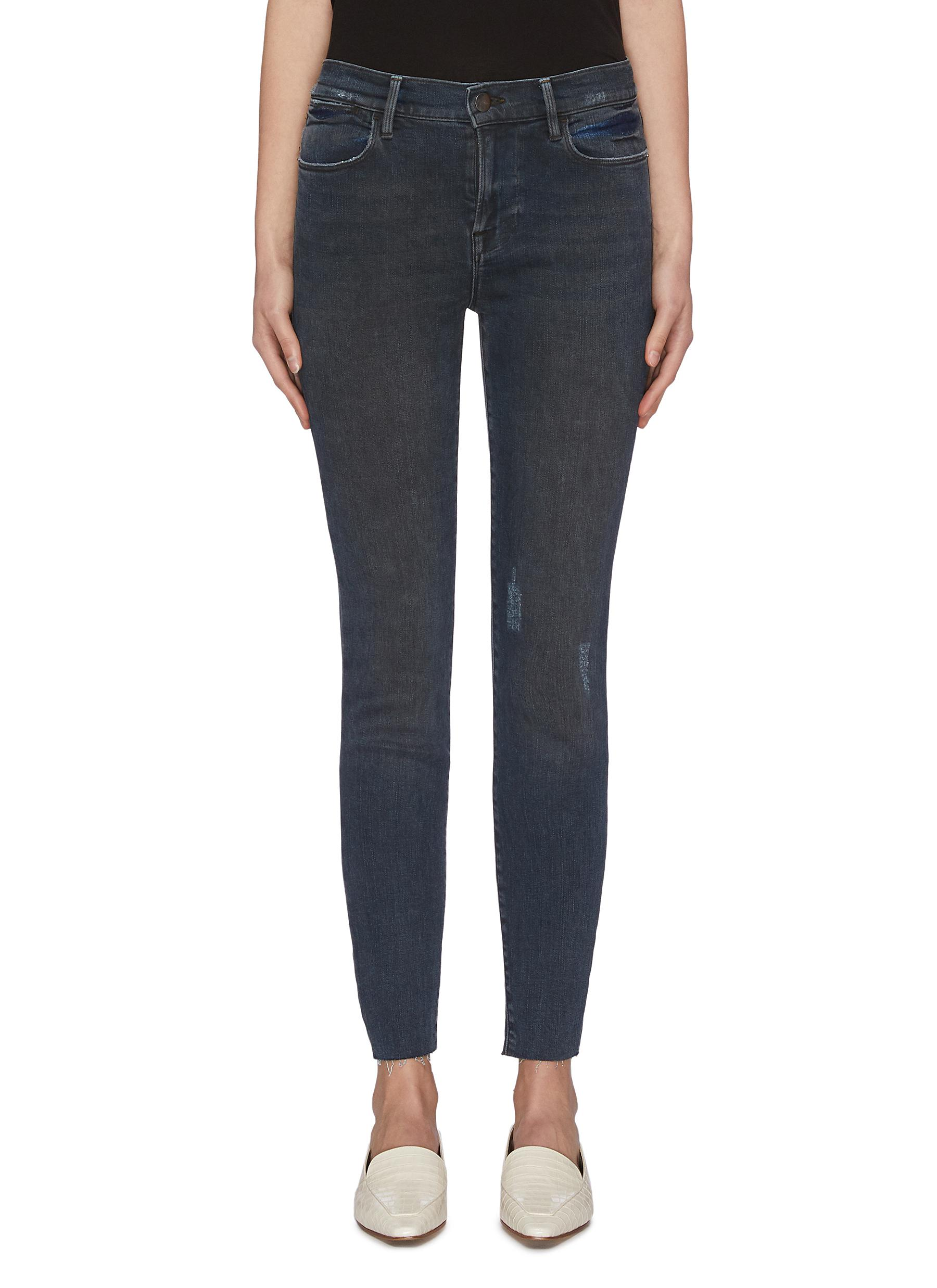 Buy Frame Denim Jeans 'Le High Skinny Hr' dark wash raw edge jeans