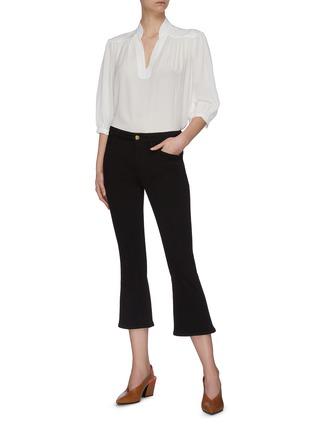 Figure View - Click To Enlarge - FRAME DENIM - 'Le Pixie' dark wash mini boot crop jeans