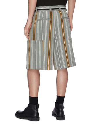 Back View - Click To Enlarge - JIL SANDER - Belted stripe shorts