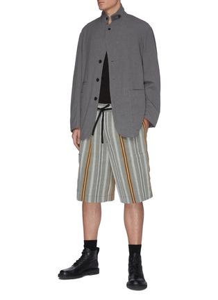 Figure View - Click To Enlarge - JIL SANDER - Belted stripe shorts