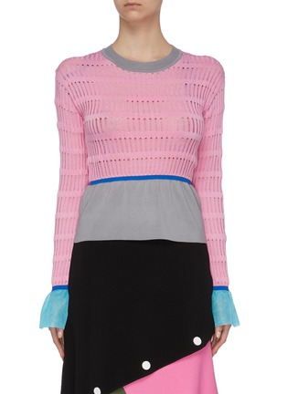 Main View - Click To Enlarge - I-AM-CHEN - Contrast waist cuff panel cut out knit top
