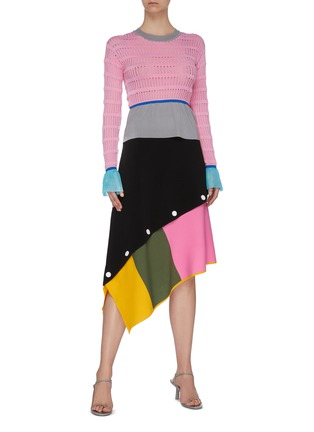 Figure View - Click To Enlarge - I-AM-CHEN - Contrast waist cuff panel cut out knit top