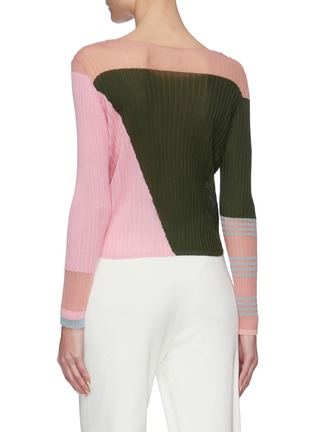 Back View - Click To Enlarge - I-AM-CHEN - Round neck ribbed colourblock panel top