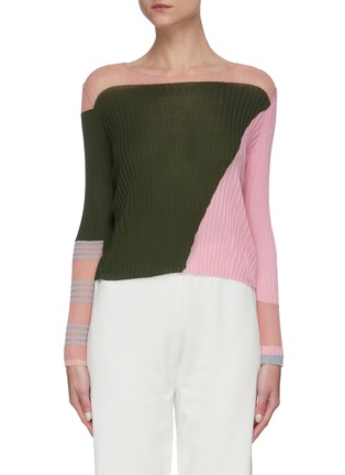 Main View - Click To Enlarge - I-AM-CHEN - Round neck ribbed colourblock panel top